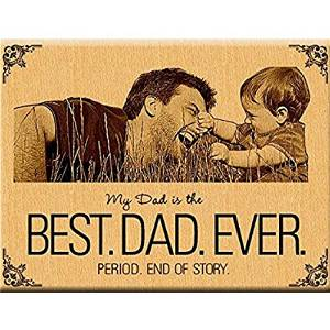 Wooden Engrave Best Dad Ever With Photo