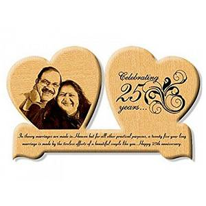 Wooden Engrave Heart Photo And Text