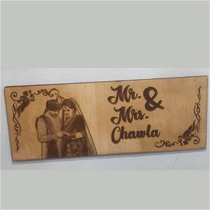 Mr & Mrs Engrave Wooden Name Plate