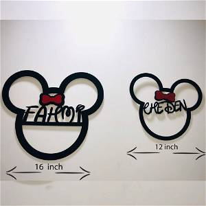 Your Name or Text Mini Mouse Wooden Frame Wall Hanging #129