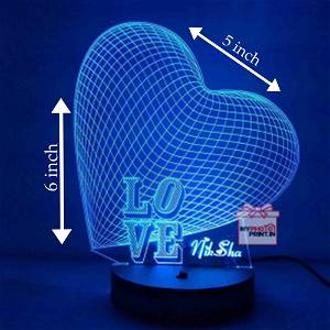Love Acrylic 3D illusion LED Lamp with Color Changing Led and Remote#1311