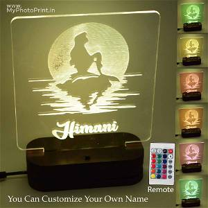 Personalized Mermaid Acrylic 3D illusion LED Lamp with Color Changing Led and Remote#1315