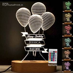 Personalized Balloons Acrylic 3D illusion LED Lamp with Color Changing Led and Remote# 1316