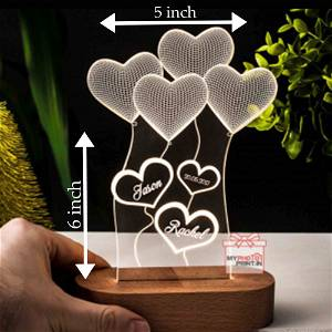 Heart Couple Name Acrylic 3D illusion LED Lamp with Color Changing Led and Remote#1317