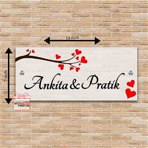 Customized Wooden Heart Name Plate #1338