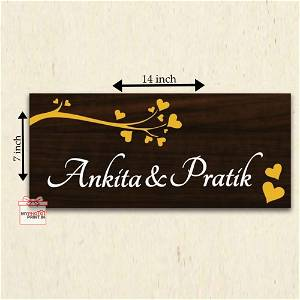 Customized Wooden Couple Name Plate