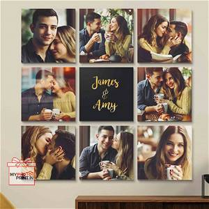 Customized Multiple Canvas Couple on wall (Pack OF 8) you can send photos via WhatsApp also after order or query on whatapp