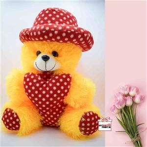 Yellow Teddy With Heart /Soft Toys