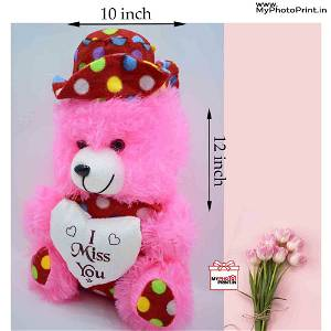 Pink Teddy With I Miss You / Soft Toys