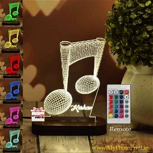 Personalized Musical Acrylic 3D illusion LED Lamp with Color Changing Led and Remote#1387