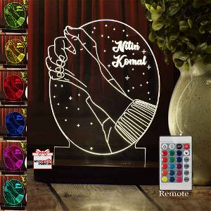 Personalized Couple Hands Acrylic 3D illusion LED Lamp with Color Changing Led and Remote#1388