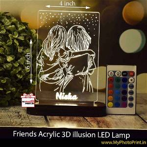 Personalized Friends Acrylic  3D illusion LED Lamp with Color Changing Led and Remote#1389