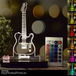 Personalized Guitar Acrylic  3D illusion LED Lamp with Color Changing Led and Remote#1390