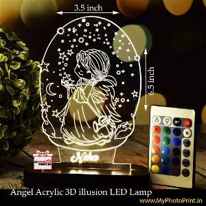 Personalized Angel Acrylic  3D illusion LED Lamp with Color Changing Led and Remote#1391