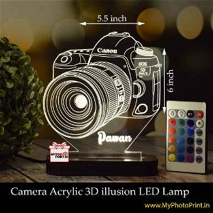 Personalized Camera  Acrylic  3D illusion LED Lamp with Color Changing Led and Remote#1392