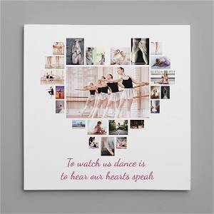 Heart Customized Multiple Photo Frame Collage Canvas With Your Message On it #1394 /Any Query Whatsapp Us After Order