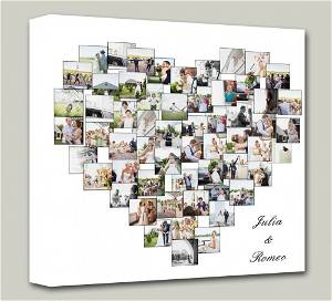 Heart Customized Multiple Photo Frame Collage Canvas With Your Names On it #1395 /Any Query Whatsapp Us After Order