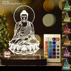 Peaceful Buddha Acrylic 3D illusion LED Lamp with Color Changing Led and Remote#1397
