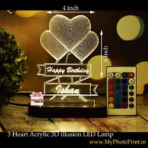 Personalized 3 Heart Acrylic  3D illusion LED Lamp with Color Changing Led and Remote#1398