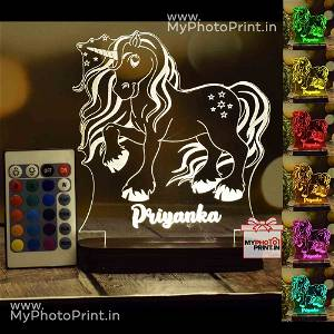 Personalized Unicorn Acrylic 3D illusion LED Lamp with Color Changing Led and Remote#1399