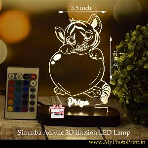 Personalized Simmba Acrylic 3D illusion LED Lamp with Color Changing Led and Remote# 1400