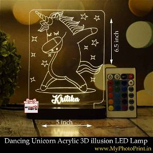 Personalized Dancing Unicorn Acrylic 3D illusion LED Lamp with Color Changing Led and Remote#1401