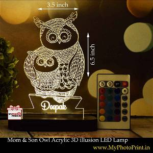 Personalized Mom & Son Owl  Acrylic 3D illusion LED Lamp with Color Changing Led and Remote#1402