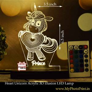 Personalized Heart Unicorn  Acrylic 3D illusion LED Lamp with Color Changing Led and Remote#1403