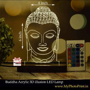 Buddha Acrylic 3D illusion LED Lamp with Color Changing Led and Remote#1404