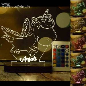 Personalized Flying Unicorn Acrylic 3D illusion LED Lamp with Color Changing Led and Remote#1406