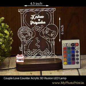 Personalized Couple Love Counter Acrylic 3D illusion LED Lamp with Color Changing Led and Remote#1408