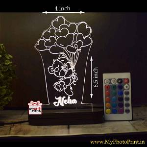Personalized Teddy Bear Acrylic 3D illusion LED Lamp with Color Changing Led and Remote#1409