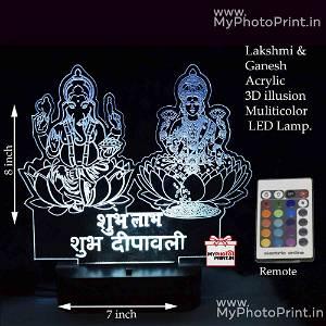 Lakshmi ji & Ganesh ji Acrylic 3D illusion LED Lamp with Color Changing Led and Remote#1322