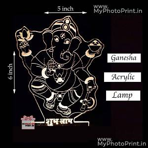 Ganesh Ji Acrylic Lamp Led Lamp with Color Changing Led and Remote #1420