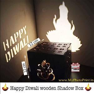 Happy Diwali Shadow Box with Electric Night Lamp