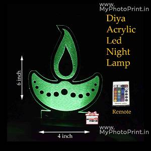 Diya Acrylic 3D illusion LED Lamp with Color Changing Led and Remote#1370