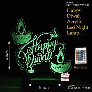 Happy Diwali Acrylic 3D illusion LED Lamp with Color Changing Led and Remote#1371