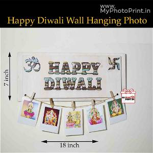 Happy Diwali Wall hanging with 5 photo