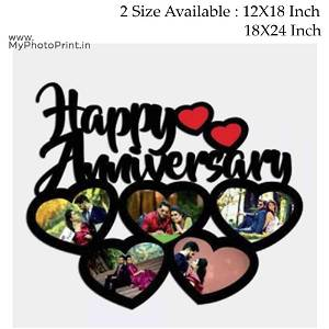 Your Text OR Name Wooden Photo Collage 5 Photos(Example: Happy Anniversary,Happy Birthday ETC.)