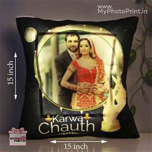 Karwa Chauth Led Cushions Yellow