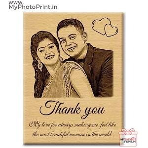 Couple Photo Wooden Engrave With Your Text