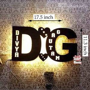 Personalized Special A TO Z Alphabetic Initial Wooden Name Board With 7 Different Lights and Remote