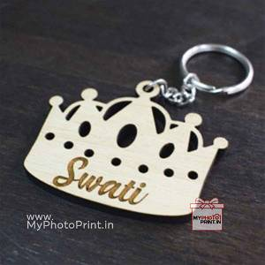 Customized Wooden Crown Name keychain