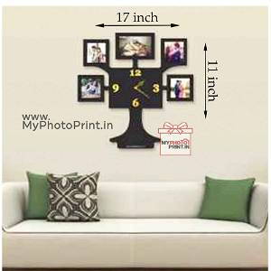 Personalized Tree Photo Wall Clock Frame With 5 images