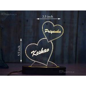 Personalized 2 Heart Acrylic 3D illusion LED Lamp with Color Changing Led and Remote#1487