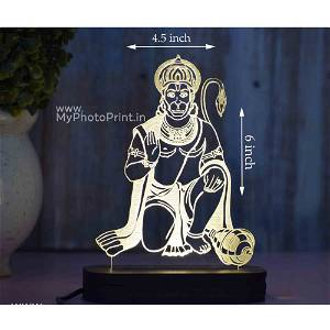 Hanuman Ji Acrylic 3D illusion LED Lamp with Color Changing Led and Remote#1490