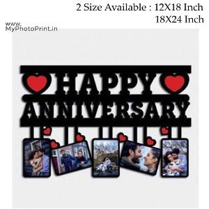 Your Text OR Name Wooden Photo Frame Collage 5 Photos(Example: Happy Anniversary,Happy Birthday ETC.)