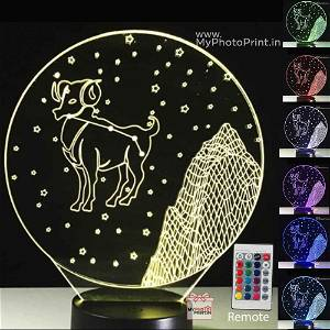 Aries Zodiac Sign Acrylic 3D illusion LED Lamp with Color Changing Led and Remote#1503