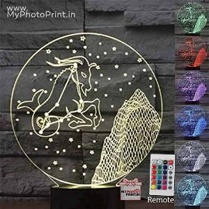 Capricorn Zodiac Sign Acrylic 3D illusion LED Lamp with Color Changing Led and Remote#1507