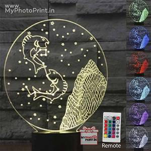 Pisces Zodiac Sign Acrylic 3D illusion LED Lamp with Color Changing Led and Remote#1515